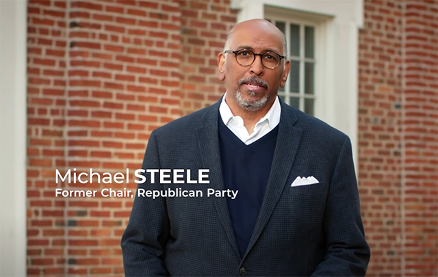 Former RNC Chair Michael Steele in a scene from a Lincoln Project ad.