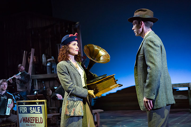 "Ann Michels and Robert Berdahl star in ""Sweet Land, the musical."""