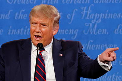 President Donald Trump speaking during the first 2020 presidential campaign debate