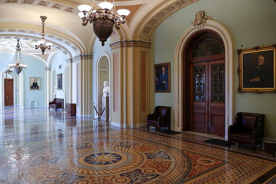 The doors to the U.S. Senate floor are closed at the Capitol during the coronavirus disease outbreak.