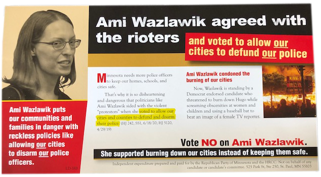 The mailer sent to voters in District 38B, the suburban east metro district where DFLer Ami Wazlawik is trying to defend the seat she took from Republicans in 2018.
