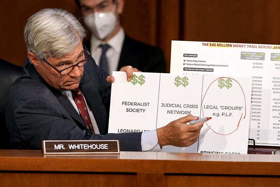 Sen. Sheldon Whitehouse making a presentation during the U.S. Supreme Court nominee Judge Amy Coney Barrett's confirmation hearing on Tuesday.