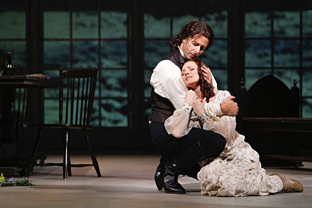 """Lee Poulis is Heathcliff and Sara Jakubiak is Catherine Earnshaw in the Minnesota Opera's 2011 production of """"Wuthering Heights."""""""