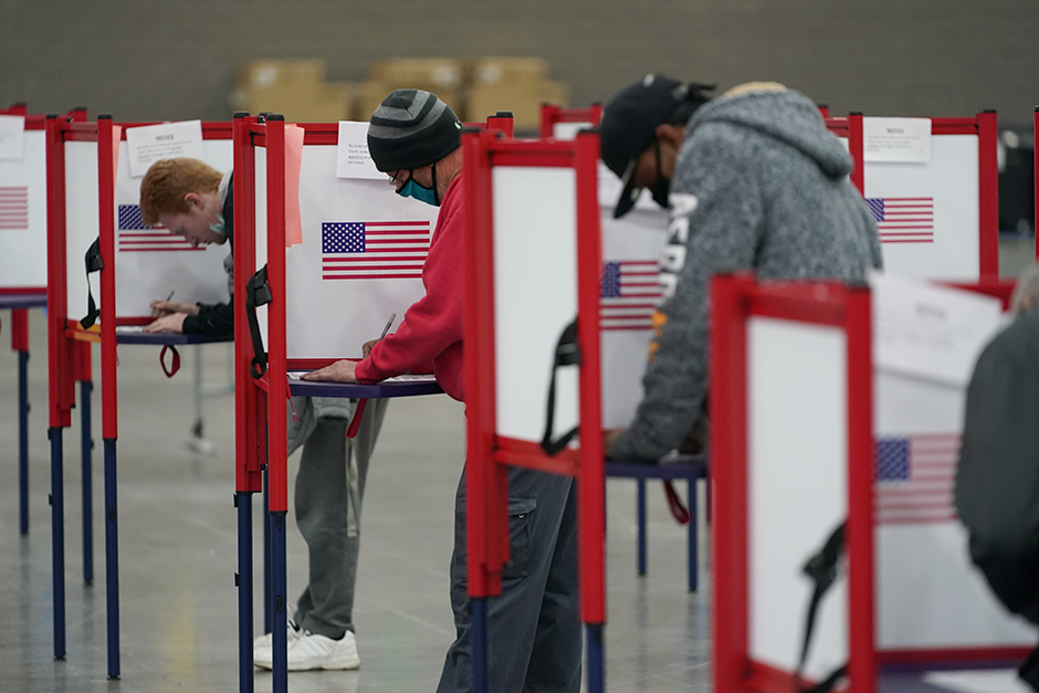 Voters filling out ballots at the Kentucky Exposition Center in Louisville, Kentucky, on Tuesday.