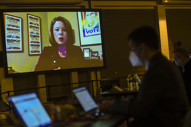 Rep. Angie Craig speaking via Zoom to a room of only media during the DFL watch party at the InterContinental St. Paul Hotel on Tuesday night.
