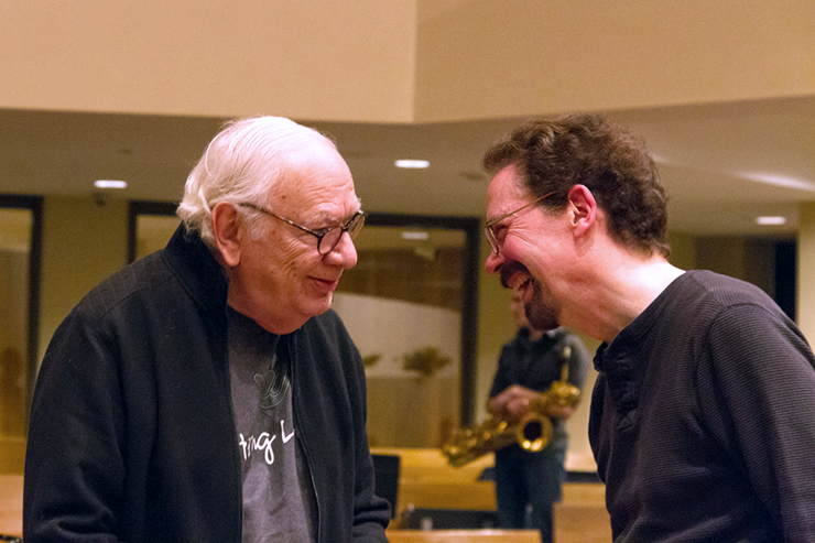 Dominick Argento and William Schrickel chatting during rehearsal.