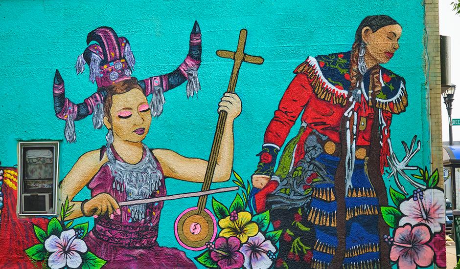 Indigenous Roots mural by City Mischief Murals.
