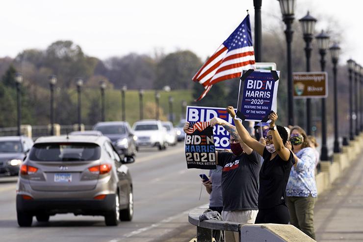 People celebrating on the Lake Street-Marshall Bridge in Minneapolis on Saturday afternoon.