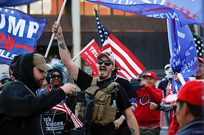 Supporters of President Donald Trump protesting in front of the Maricopa County Tabulation and Election Center
