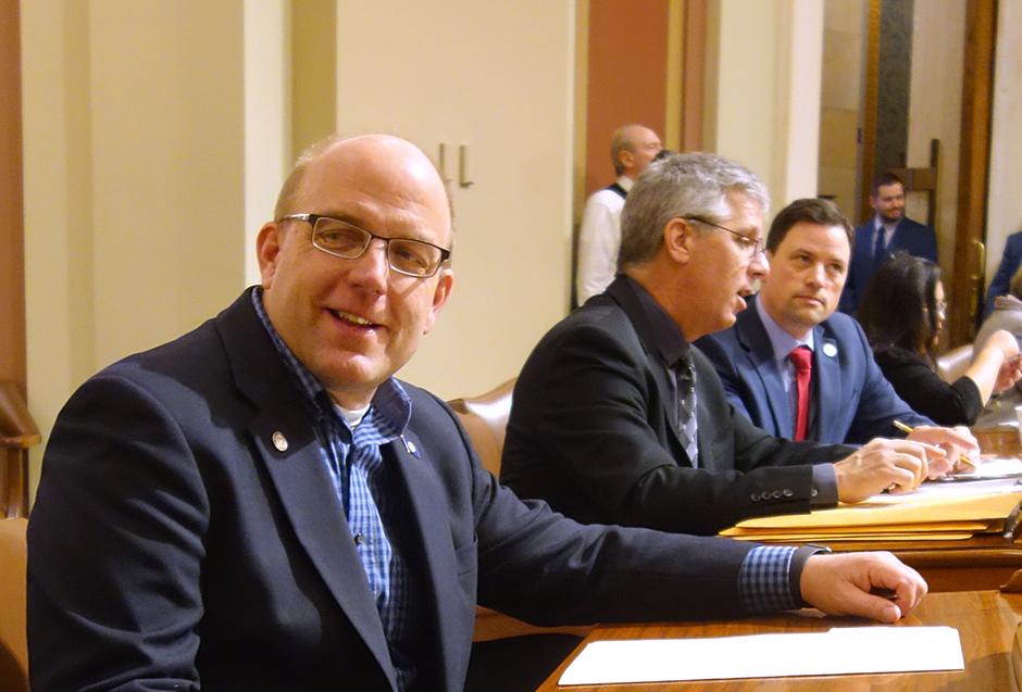 Left to right: Reps. Tim Miller, Steve Drazkowski and Jeremy Munson.