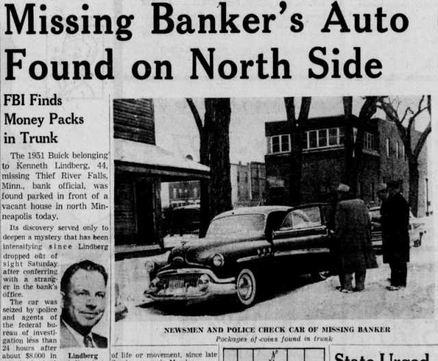 image of newspaper article about banker's car being found in north minneapolis