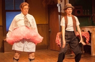 "Maren Ward as Ralph Kramden and Kimberly Richardson as Ed Norton in Open Eye Figure Theatre's ""To the Moon!"""