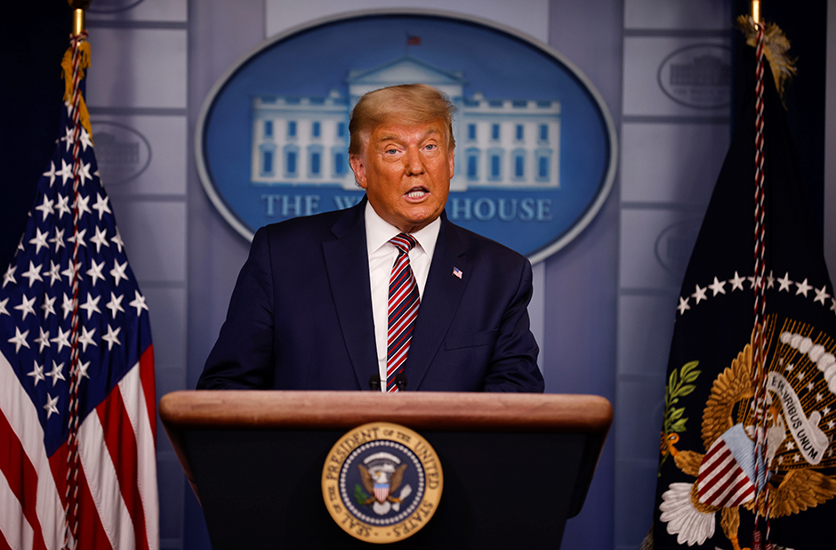President Donald Trump delivering remarks in the Brady Press Briefing Room at the White House on Thursday.