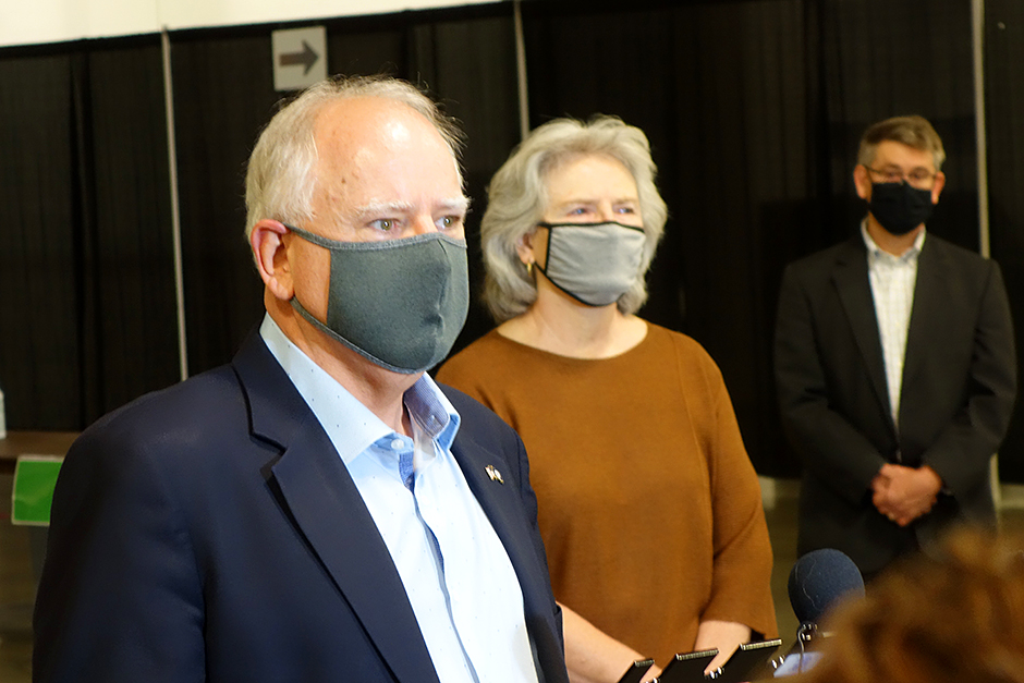 Gov. Tim Walz stood with Health Commissioner Jan Malcolm on Monday morning to announce another expansion in testing, this time at the Minneapolis Convention Center.