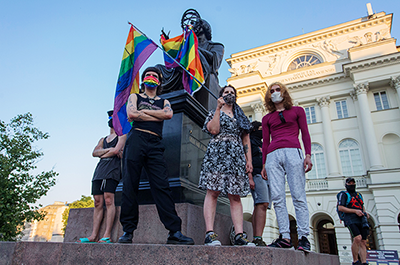 LGBTQ+ supporters protesting in Warsaw, Poland, on August 7.