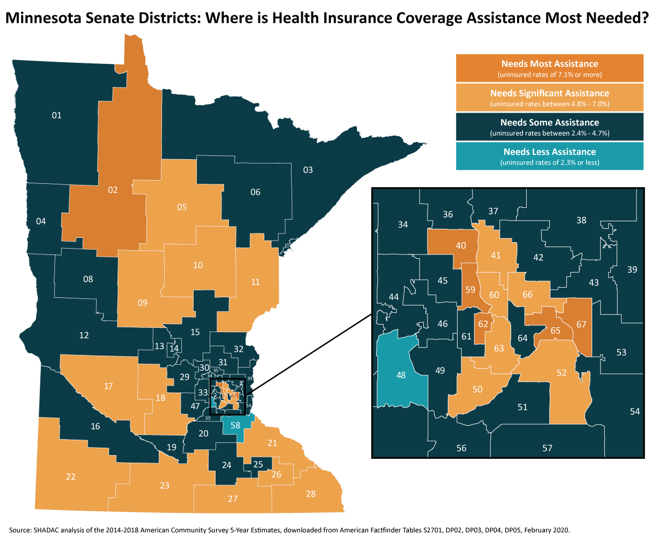 map of minnesota senate districts showing some with limited access to bealth insurance