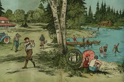 illustration of people golfing and swimming in a lake