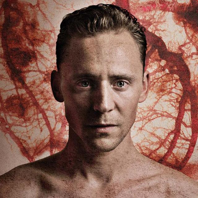 "Tom Hiddleston in the National Theatre's ""Coriolanus."""