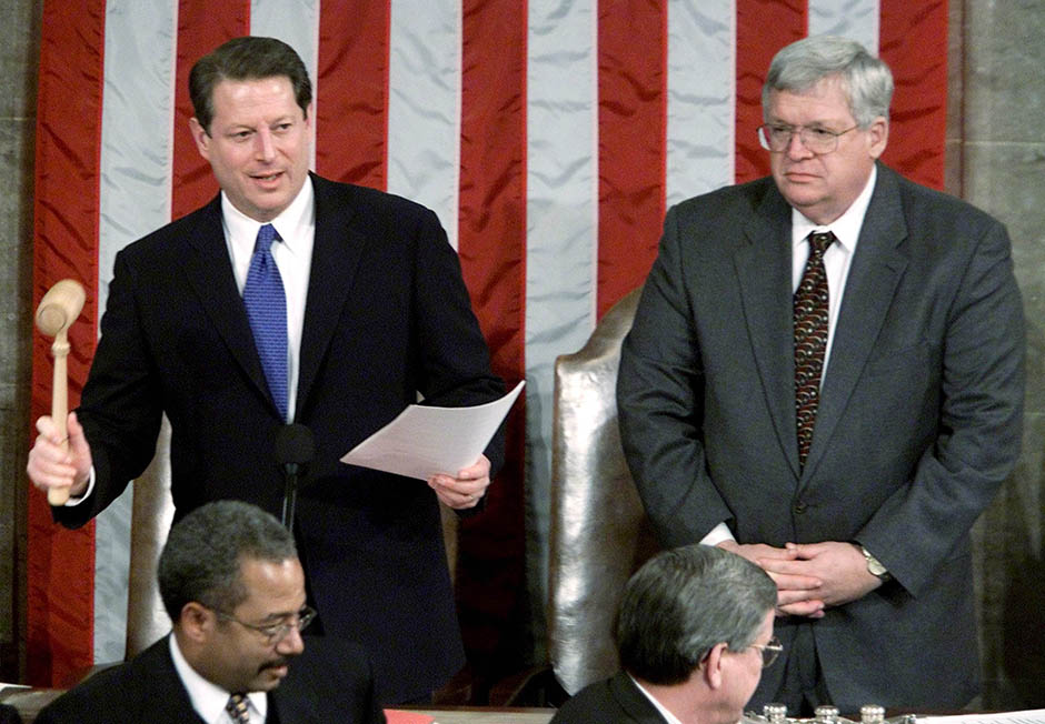 Vice President Al Gore, as president of the Senate, presided over a joint session of Congress that certified the state-based Electoral College vote, which showed that George W. Bush defeated him by a count of 271-266.