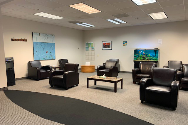 The waiting room at Headway's Brooklyn Center office.