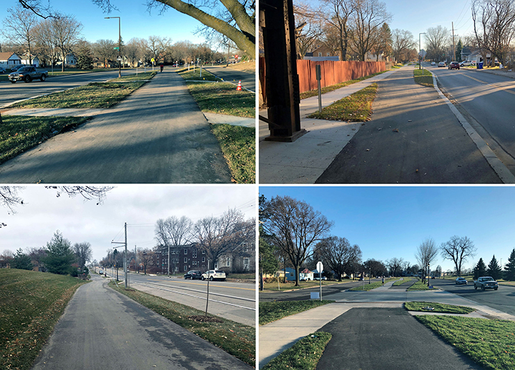 Four views of the new Johnson Parkway Grand Round trail.