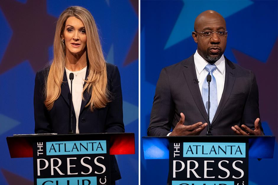 Sen. Kelly Loeffler and Democratic challenger Raphael Warnock shown during their Sunday night debate in Atlanta, Georgia.