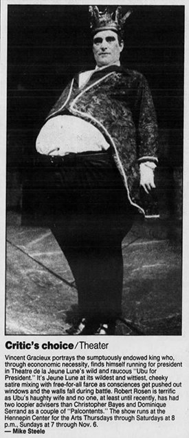 """Mike Steele preview for the 1988 re-staging of """"Ubu For President."""""""