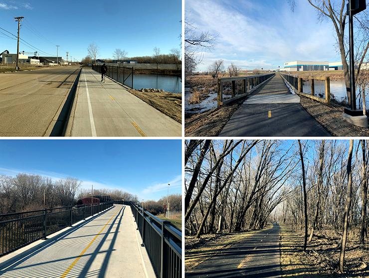 Four views of the new Robert Piram trail.
