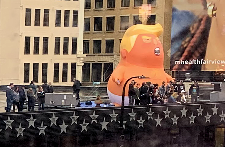 Trump balloon on the roof of First Avenue, October 10, 2019.