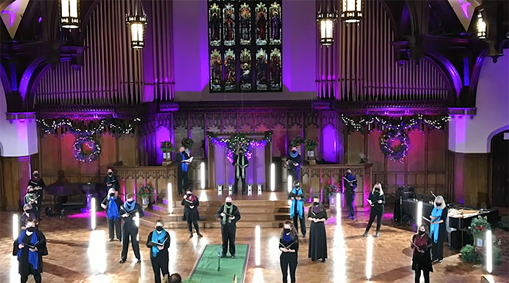 """VocalEssence recording """"Welcome Christmas"""" at Plymouth Congregational Church."""