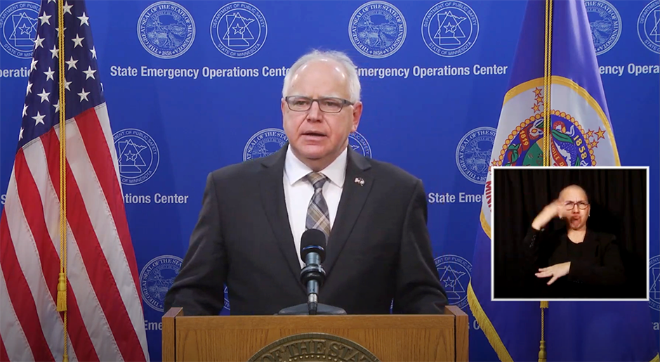 Gov. Tim Walz speaking during Wednesday's press conference.