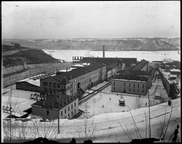 historical photo of brick prison