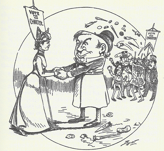 An illustration of 1900 depicting enemies of the strong mayor plan.