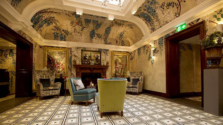 The reception area at Brown's Hotel, Agatha Christie's favorite hotel in Mayfair, London.
