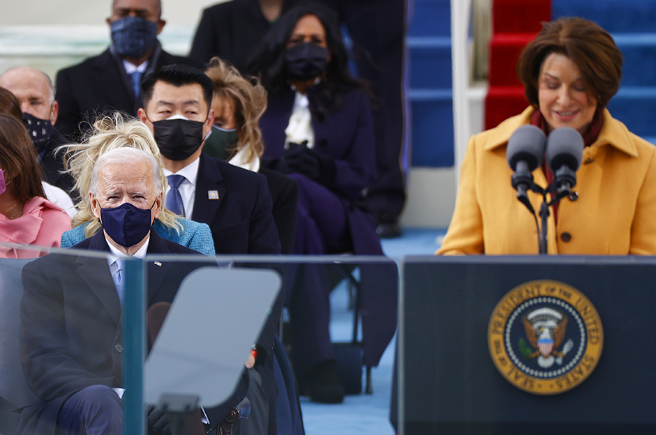Sen. Amy Klobuchar speaking on the West Front of the U.S. Capitol during the inauguration of Joe Biden.