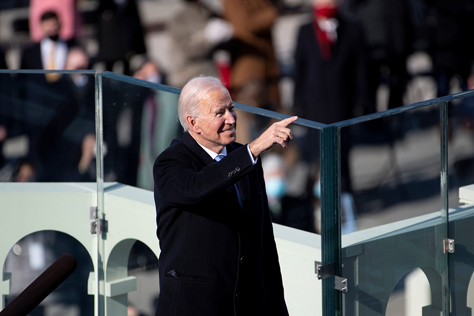 President Joe Biden pointing at attendees after being sworn in as the 46th President of the United States.