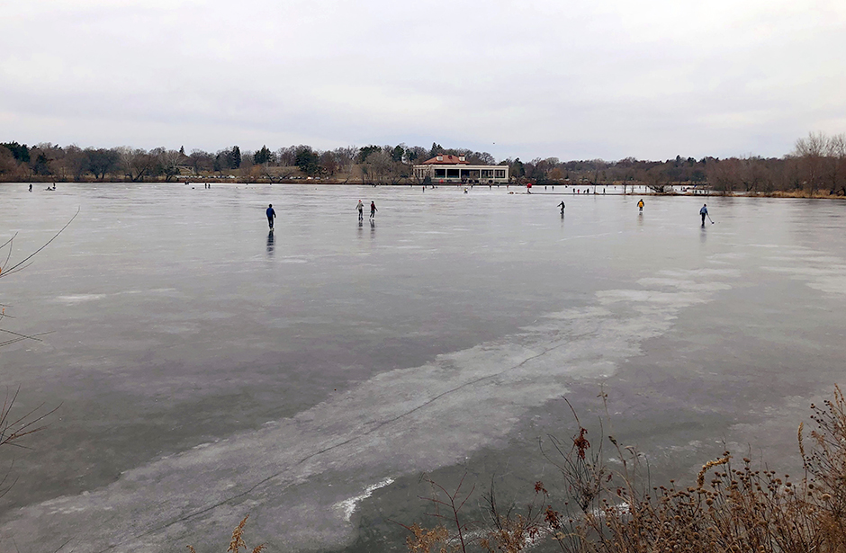 Ice skaters on Como Lake on a recent walk.