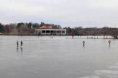 Ice skaters on Como Lake on a recent walk