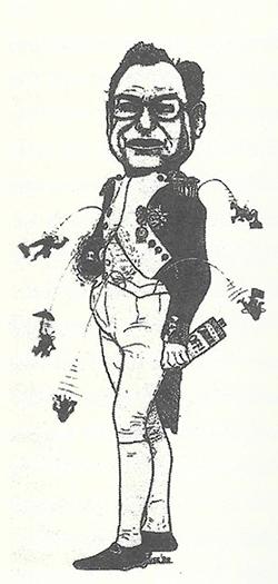 An illustration of Mayor Don Fraser as Napoleon.