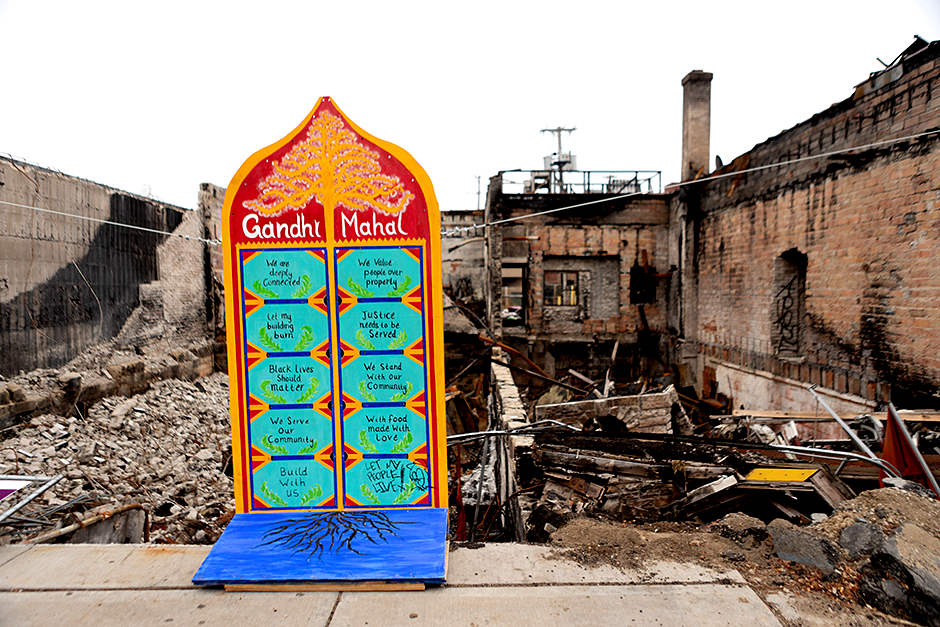 Debris remains on the site after the building where Gandhi Mahal was located was destroyed, as owner Ruhel Islam awaits permits.