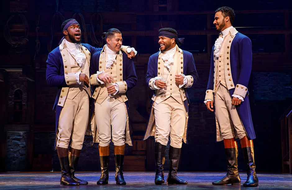 """Left to right: Chaundre Hall Broomfield, Ruben J. Carbajal, Bryson Bruce and Auston Scott from the """"Hamilton"""" National Tour."""