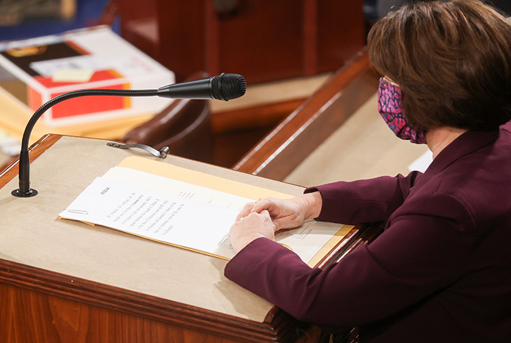 Sen. Amy Klobuchar reading the Arizona votes earlier in the day.