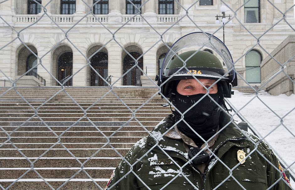 Security at the Minnesota State Capitol was tight on January 19, the day before the Biden Inauguration.