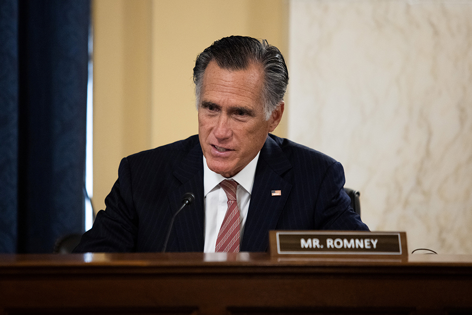 Sen. Mitt Romney shown speaking during Senate Foreign Relations Committee hearing on January 19.