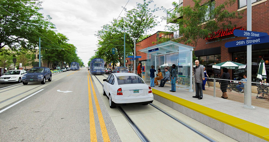 A rendering of Minneapolis' Nicollet streetcar project.