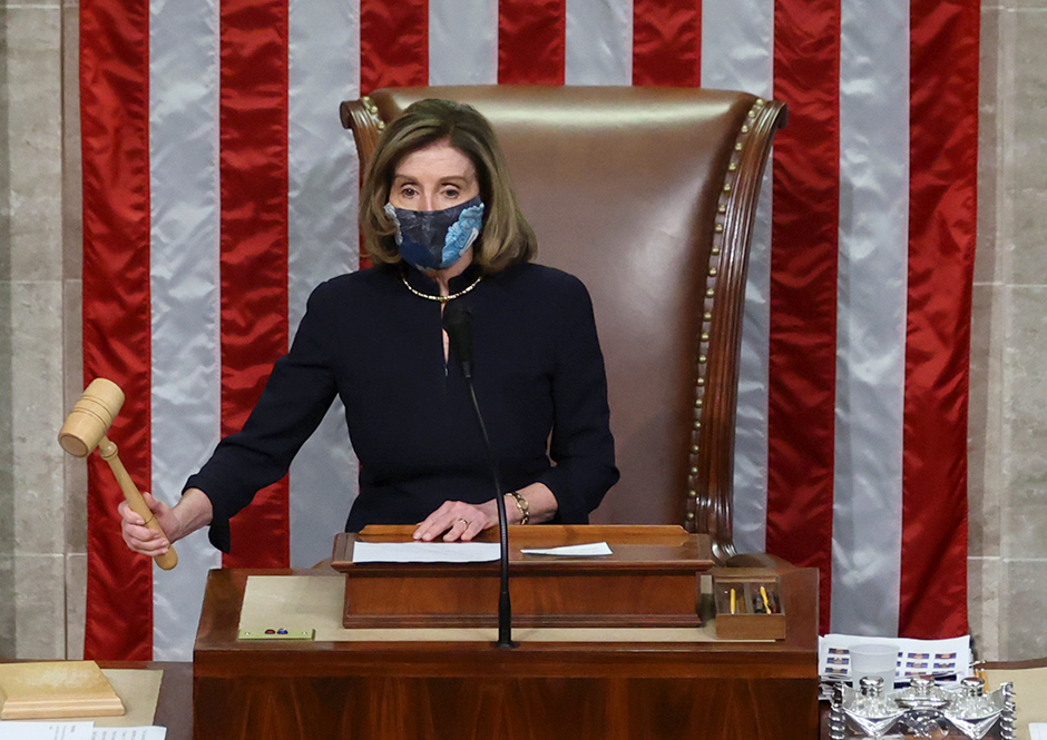 House Speaker Nancy Pelosi presiding over the vote to impeach President Donald Trump for a second time.