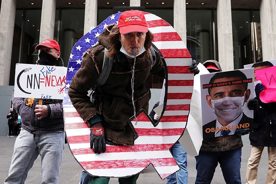 QAnon activists rallying to show their support for Fox News outside their headquarters in New York City on November 2, 2020.