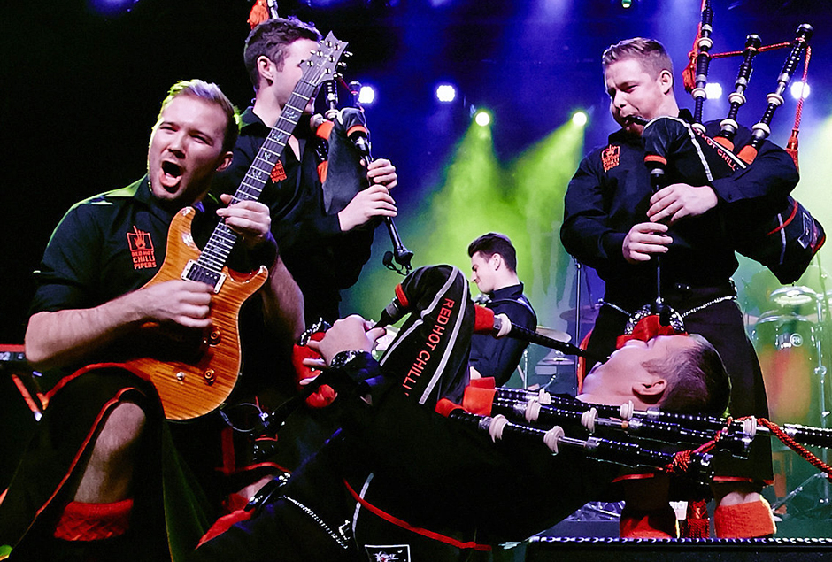 "The Red Hot Chilli Pipers have invented their own kind of music, a mix of bagpipes, drums and electric guitar they call ""bagrock."""