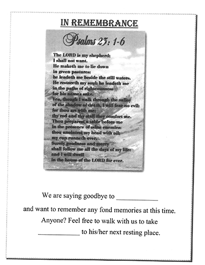 Text of a ritual that CentraCare - Long Prairie staff developed to engage in after the death of a resident.