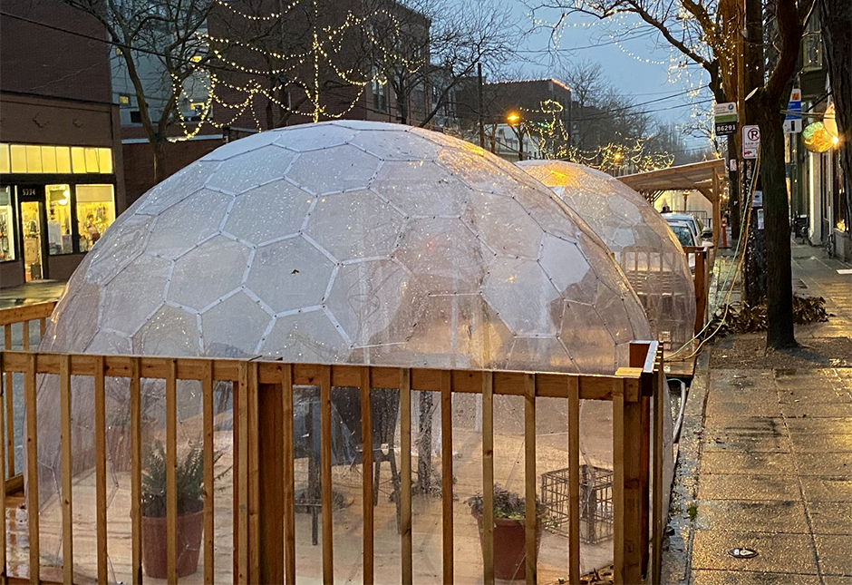 The popular Seattle restaurant San Fermo allows only two people inside each of its enclosed dining igloos at a time to reduce the risk that people from different households will dine together.